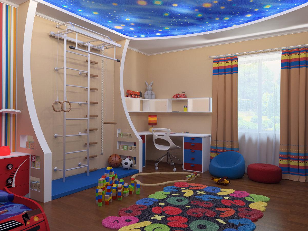 Дизайн потолка в детской комнате для мальчиков