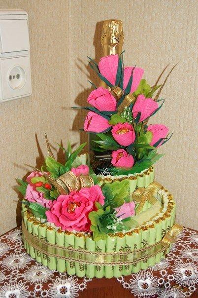 Торт на 50 лет женщине своими руками из конфет 82