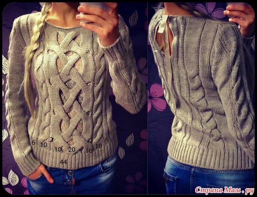 Пуловер с косами и бантом 146