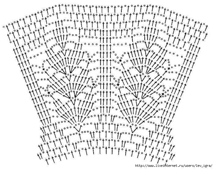 Схема вязания кофточки с кокеткой крючком