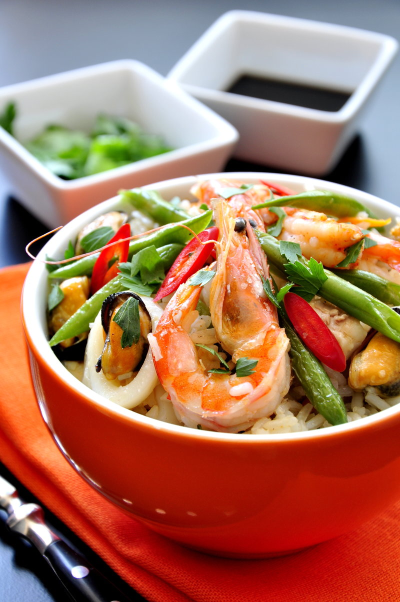 Рецепт риса с морепродуктами по-японски