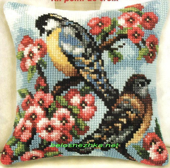 Вышивка крестом подушки с птицами 590