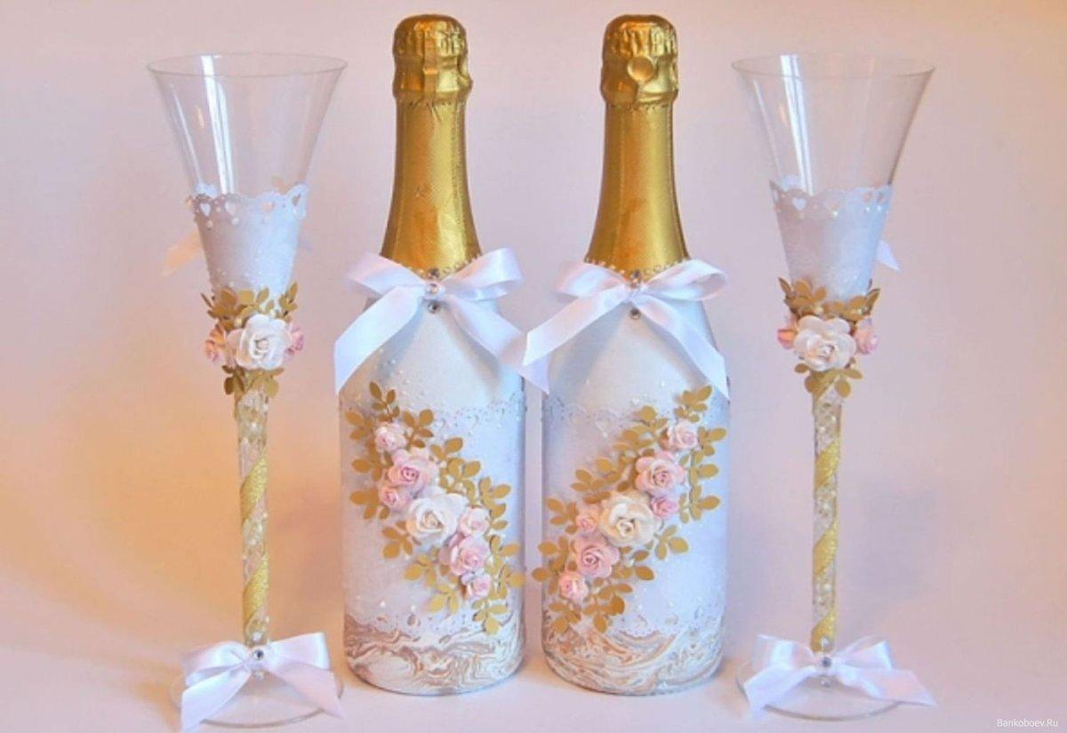 Декор свадебных бутылок своими руками мастер класс