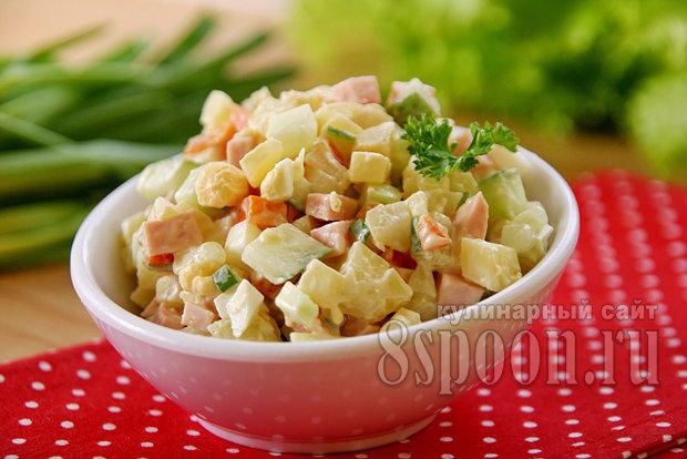 Салат зимний рецепт классический с колбасой пошагово