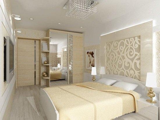 Интерьер спальни в светлых тонах со светлой мебелью фото