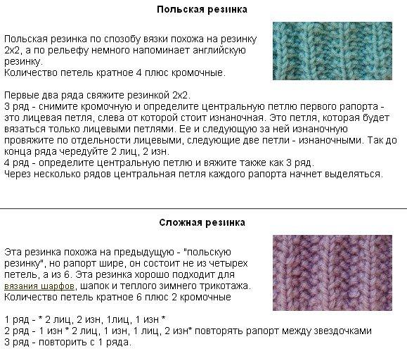 Вязание спицами резинки схемы