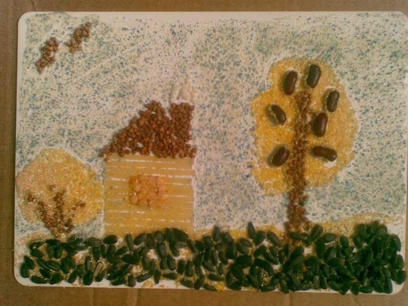Поделки из круп и макарон для детей 92