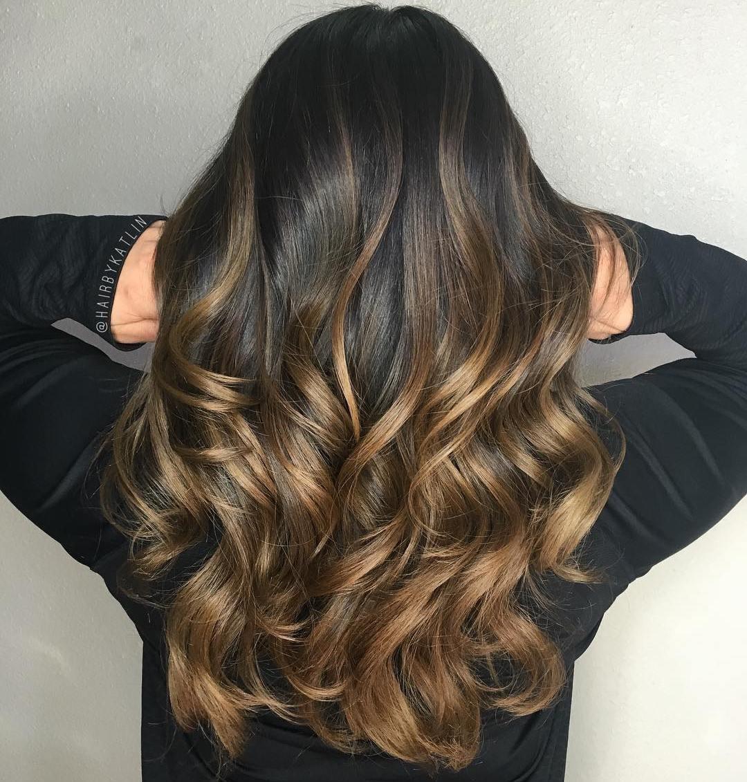 Современное окрашивание волос на черные волосы