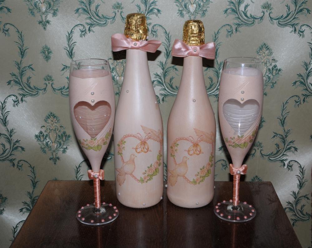 Свадебные бутылки декупаж своими руками фото