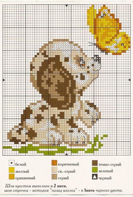 Схема собачек для детской вышивки