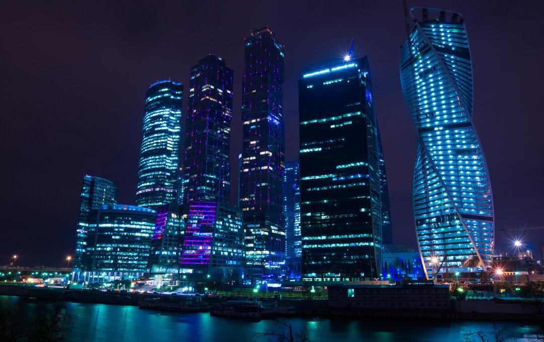 Москва сити ночь архитектура россия Башня на Набережной Город Столиц  № 3716255 без смс