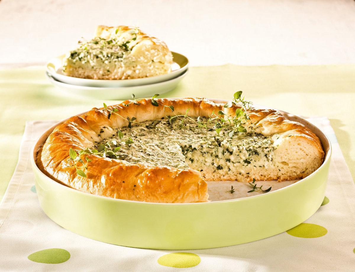 Рецепт пирог творожный с зеленью