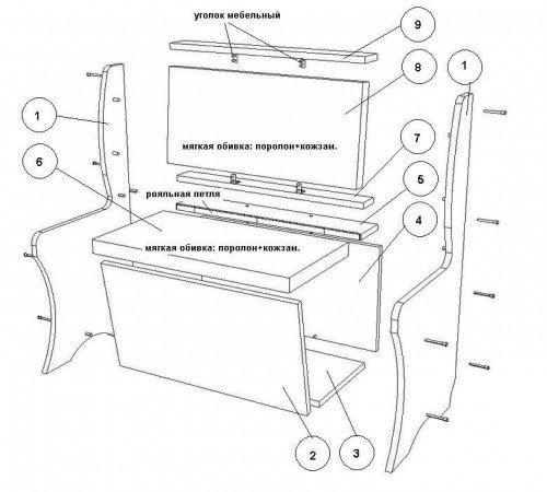 Раскладной диван для кухни своими руками чертежи 47