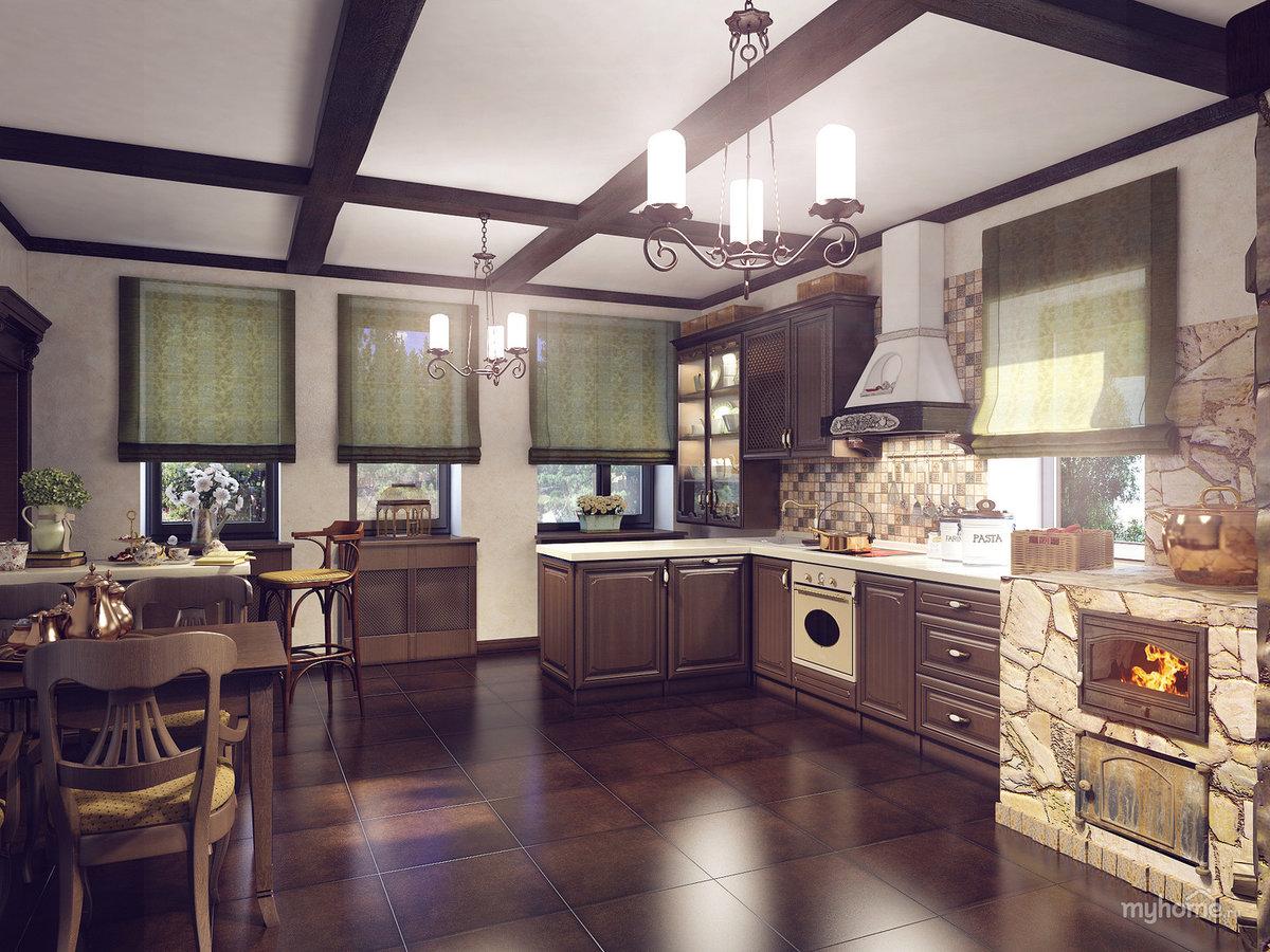 Дизайн кухни частного дома с печкой
