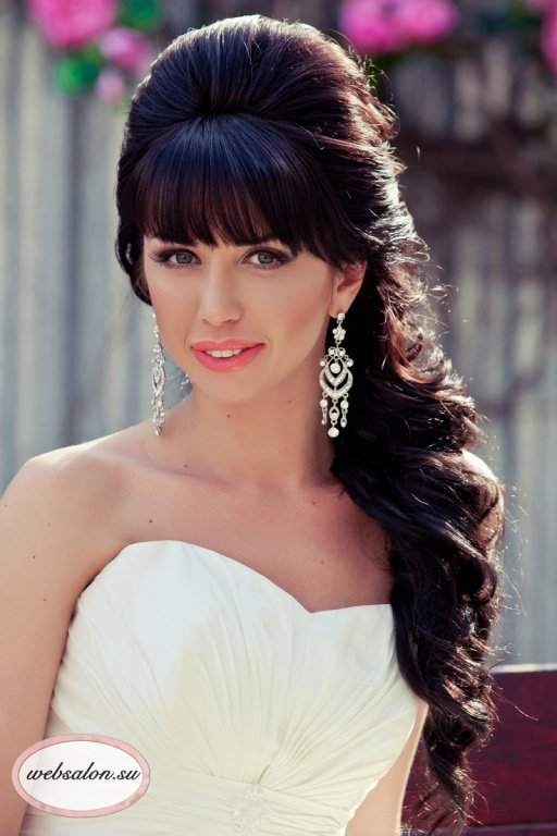 Прически на свадьбу на длинные волосы с челкой фото в качестве