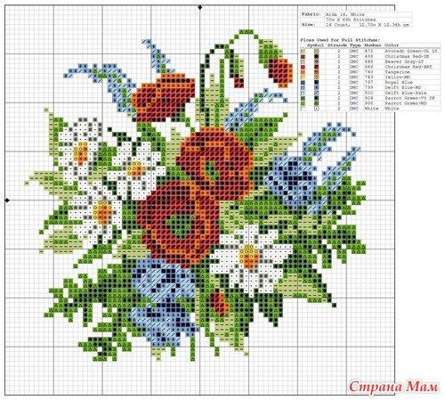 Вышивка цветов и букетов крестиком 123