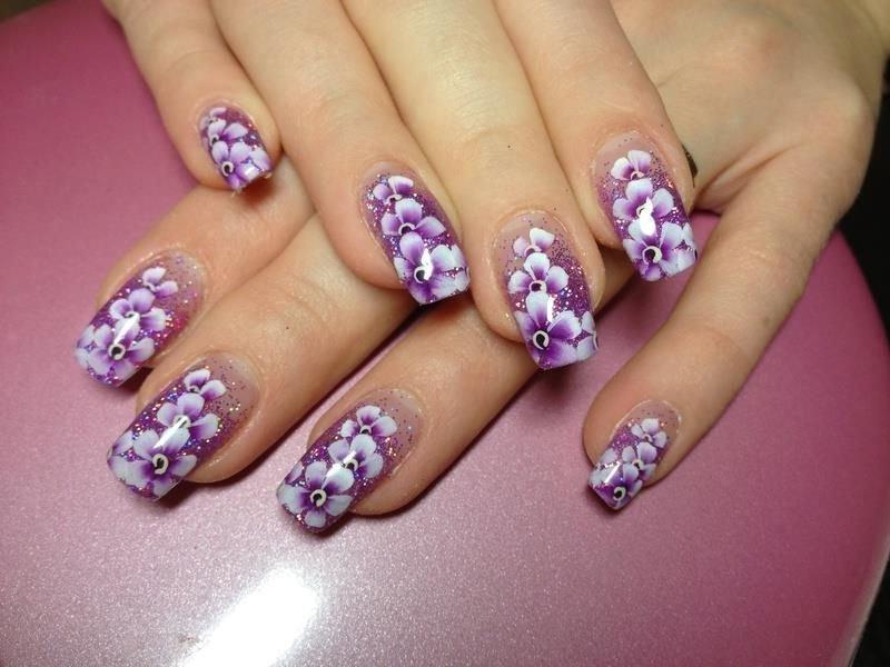 Роспись на гелевых ногтях фото
