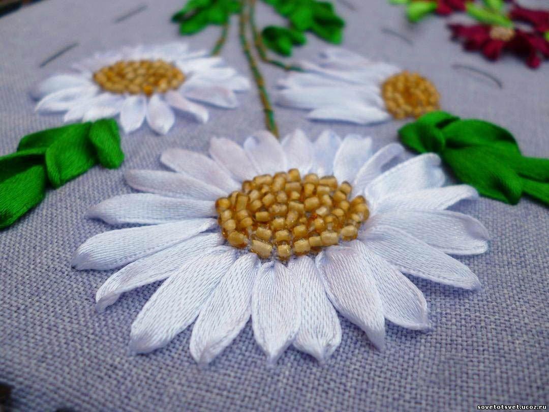 Как вышивка ромашки лентами