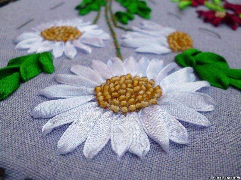 Ромашки вышивка лентами мастер класс для начинающих