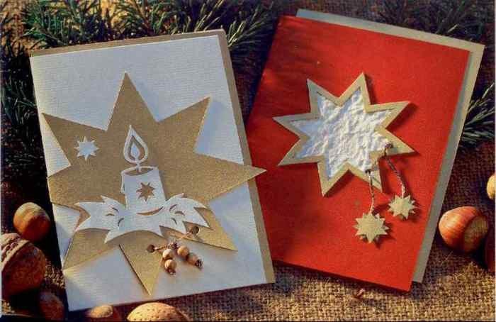 Как сделать открытки на рождество своими руками