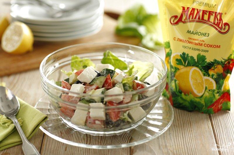 Греческий салат с майонезом с фото