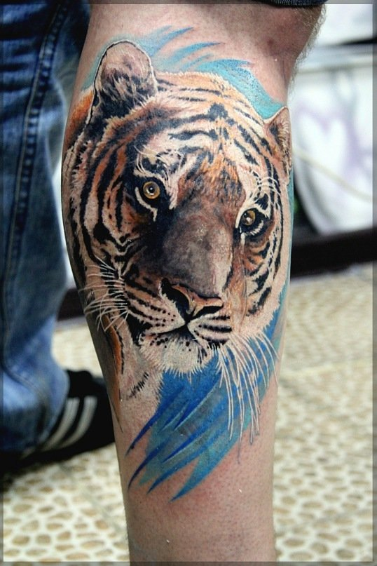 Тату на ноге мужские тигры