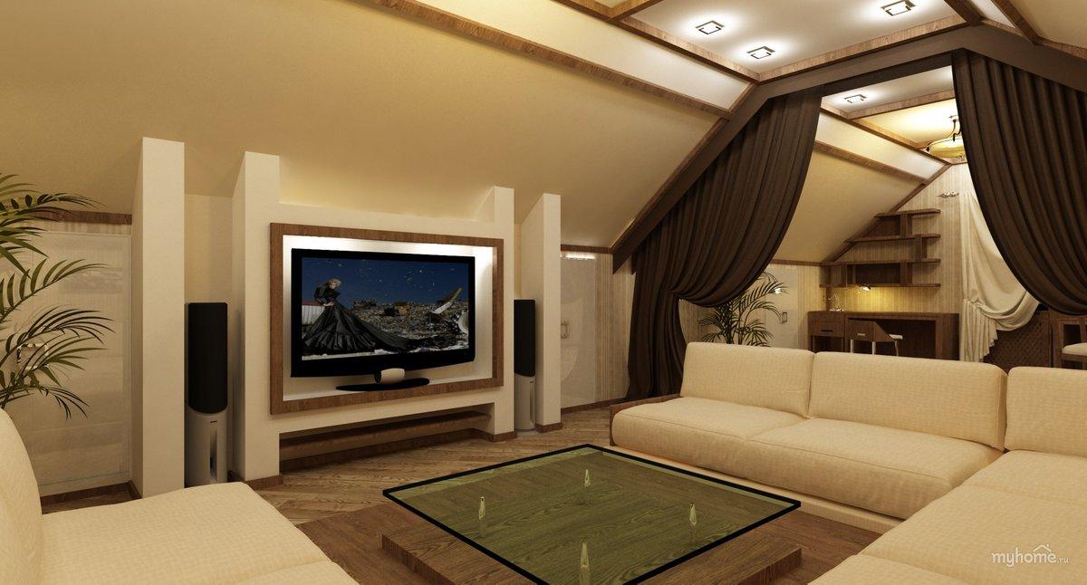 Дизайн гостиной с мансардным потолком