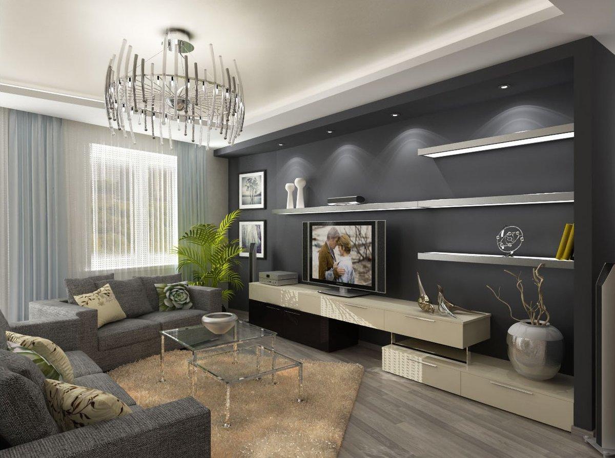Идеи для зала в серых тонах фото