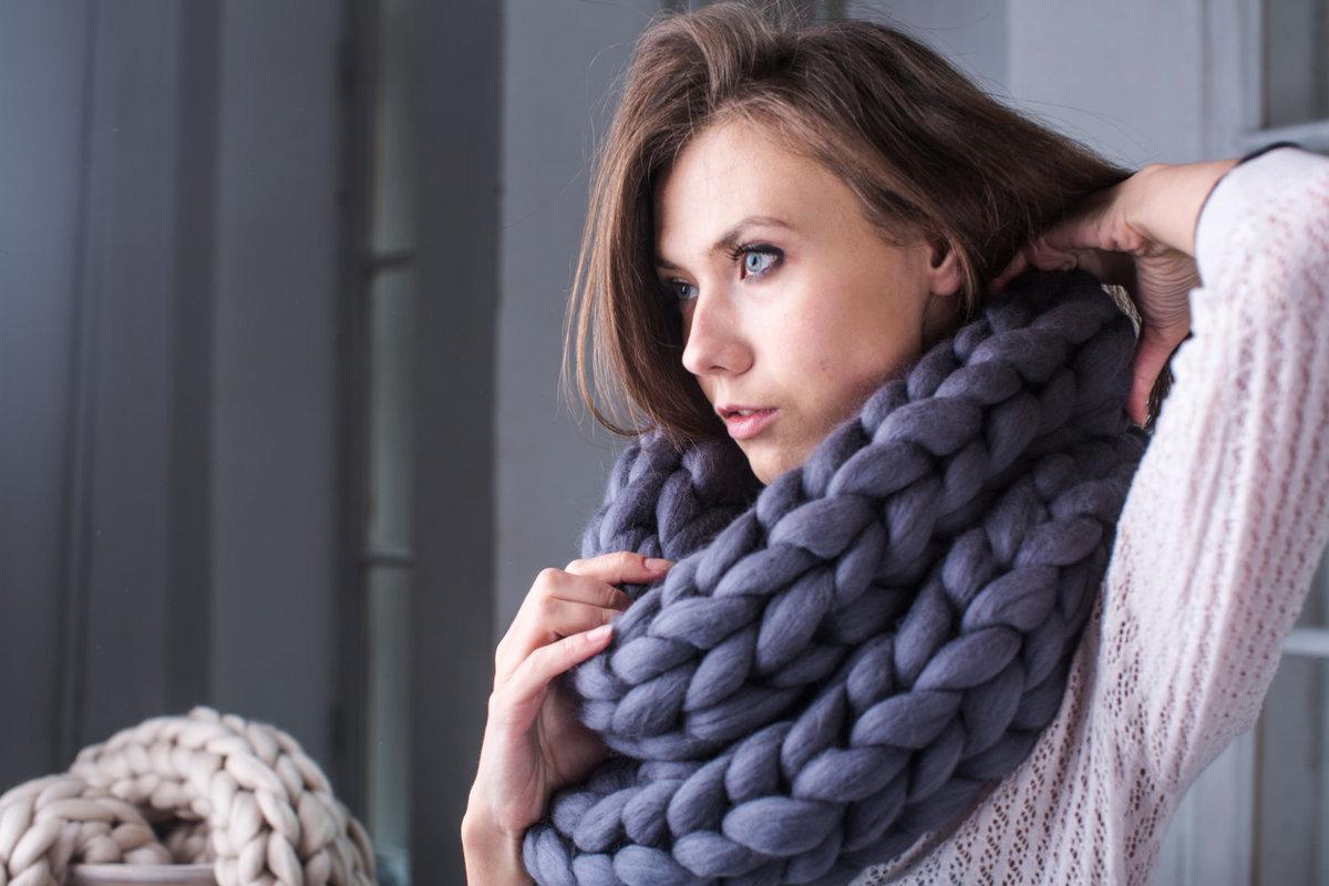 Как связать женский шарф снуд спицами для начинающих 40