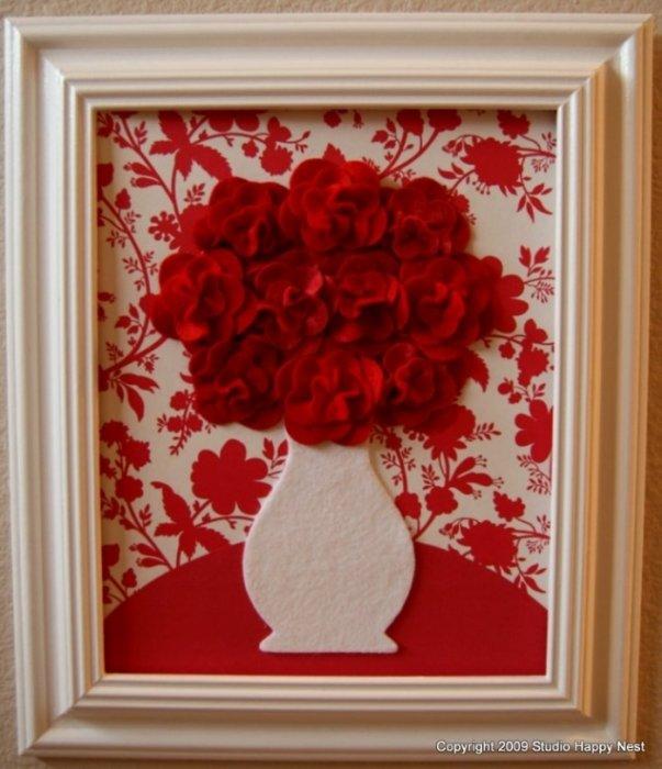 Картины из цветы из ткани
