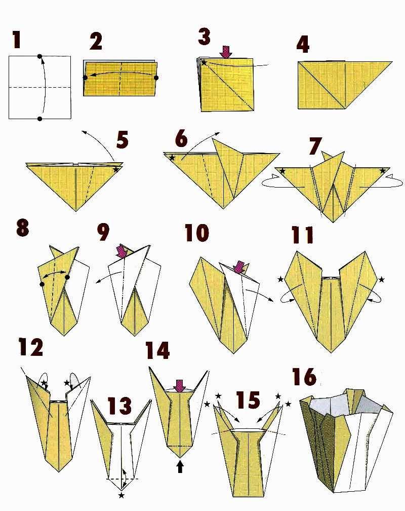 Как сделать из бумаги вазочку оригами