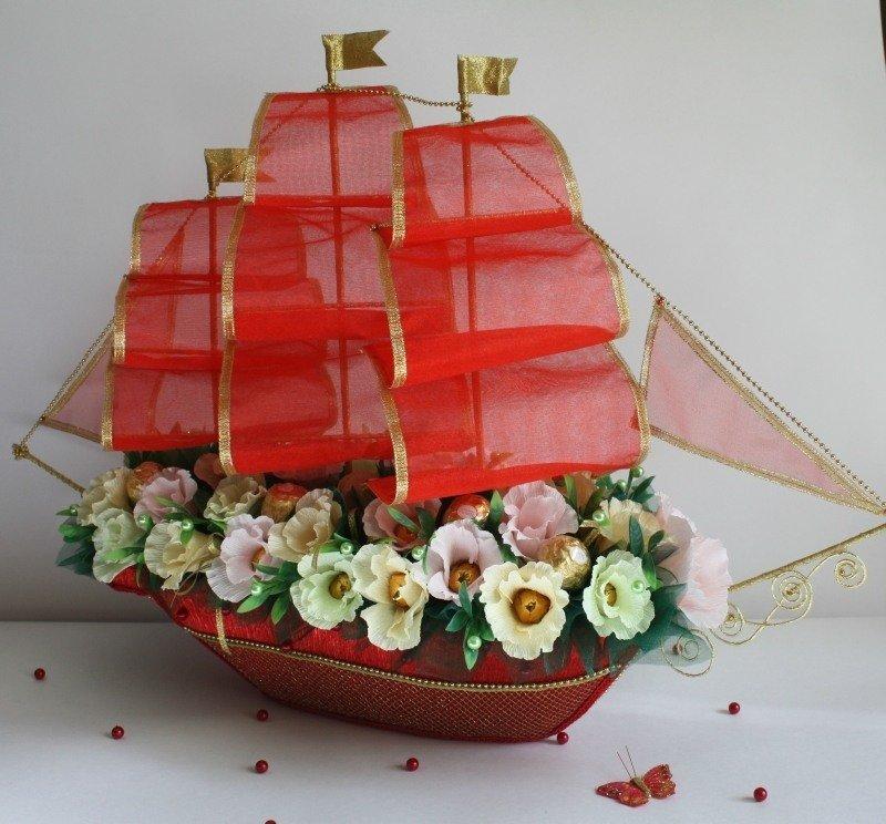 Букеты из конфет своими руками корабль 55
