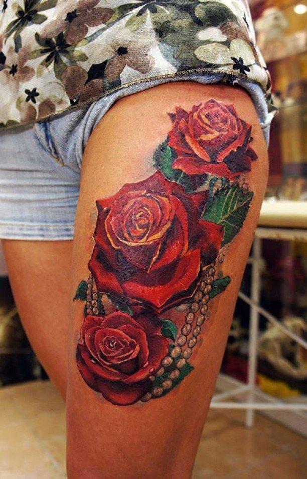 Фото тату розы реализм
