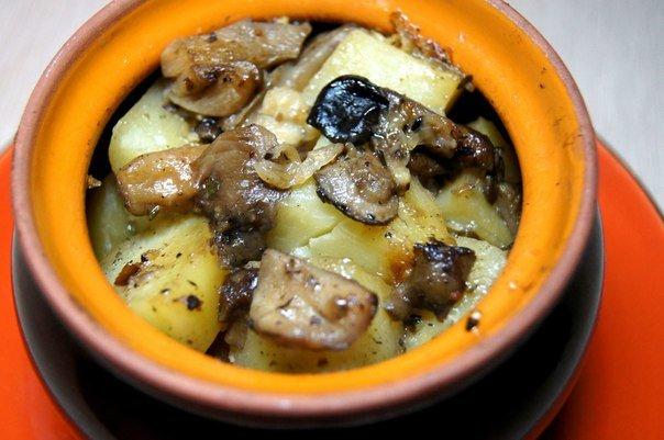 Грибы с курицей в горшочке в духовке рецепт