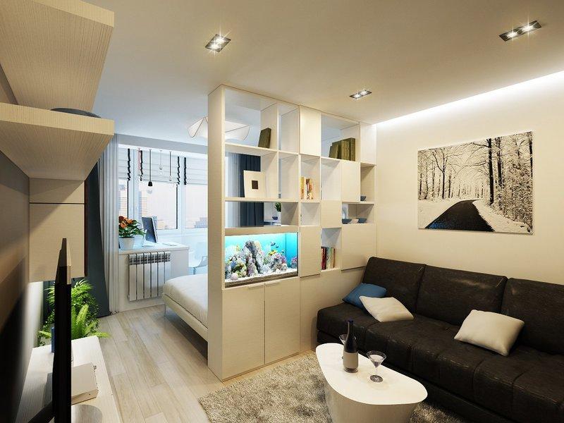 Дизайн спальня гостиная 17 кв.м в