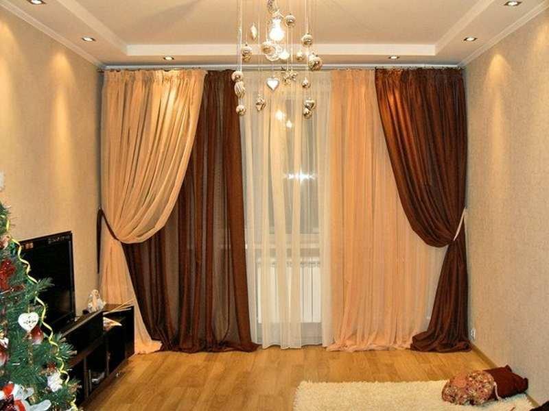 Как сшить комбинированные шторы в гостиную 34