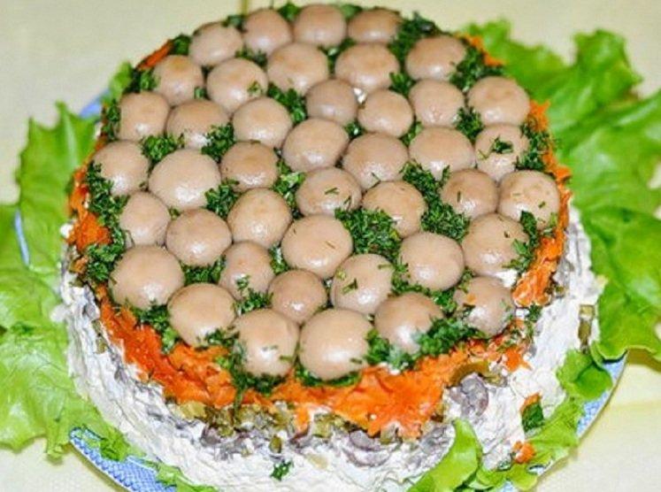 Салат лесная полянка с ветчиной рецепт