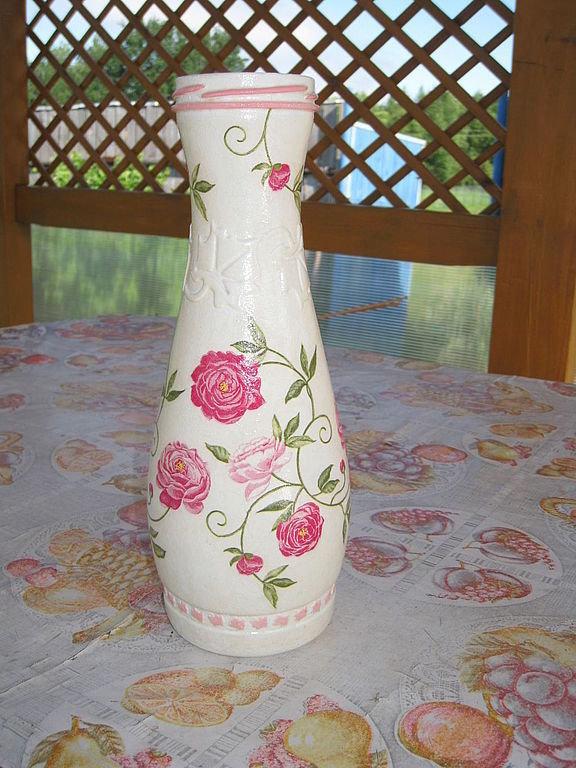Как сделать из бутылки вазу декупаж