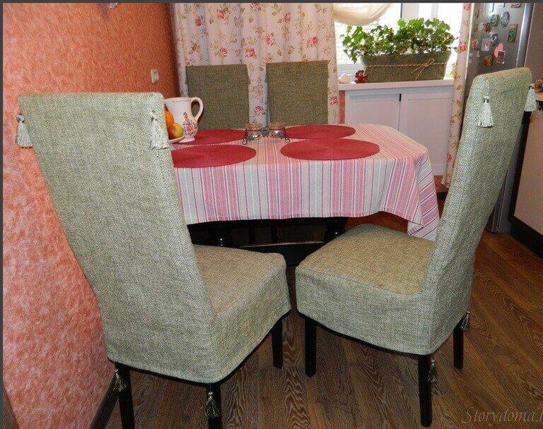 Чехлы на стулья в кухне своими руками 257