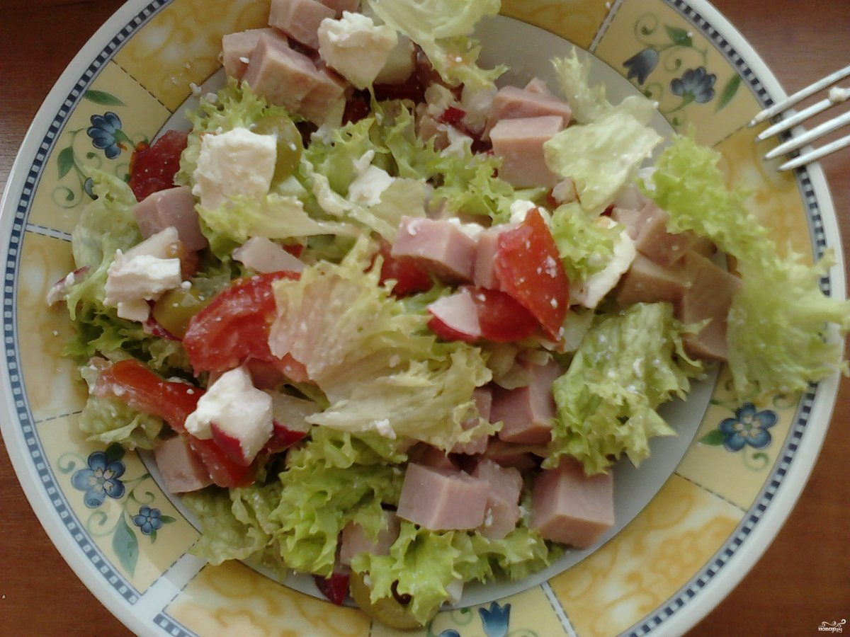 Салат из крабовых палочек с ветчиной рецепт с