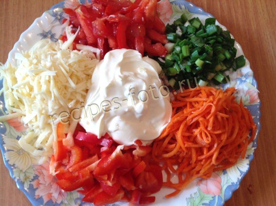 Салат радуга с корейской морковью рецепт