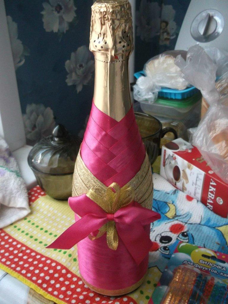 Как оформить бутылку шампанского лентами своими руками
