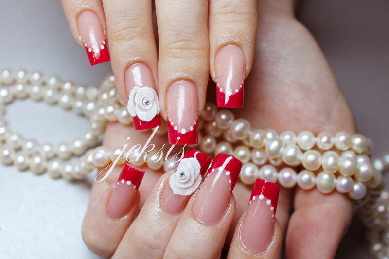 Ногти на свадьбу невесте белые с красным