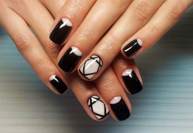 Фото гель лак черный на ногтях дизайн