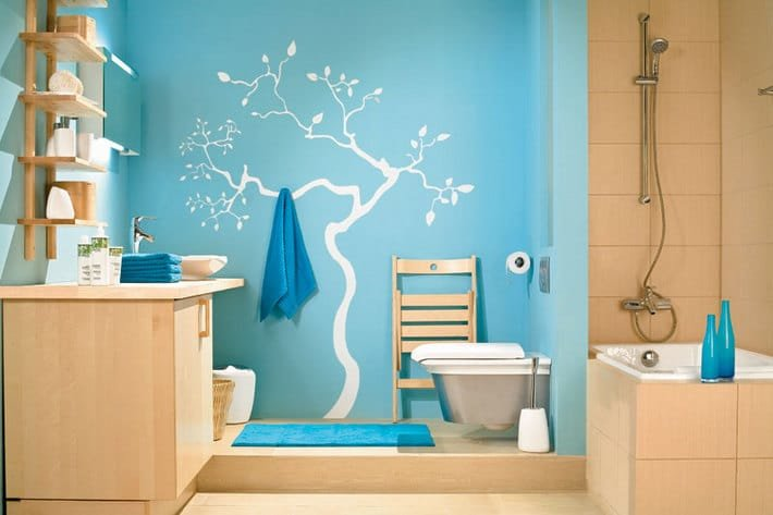 Покраска в ванной комнате в ванной своими руками 55