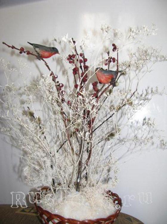 Зимние букеты своими руками из природного материала