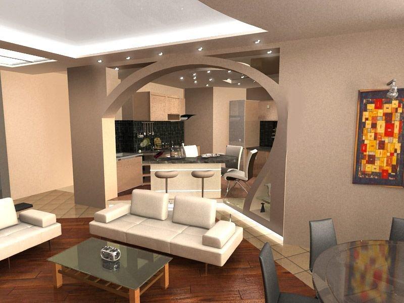 Дизайн гостиной соединен с кухней