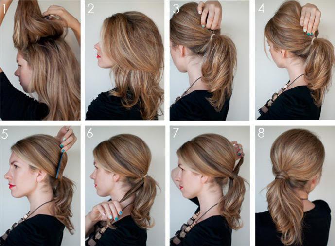 Прически хвост на волосы средней длины