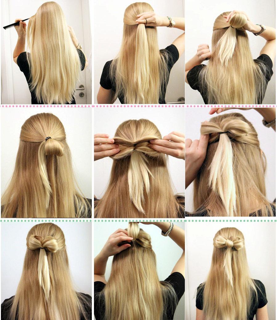 Как сделать бантик из длинного волоса 407