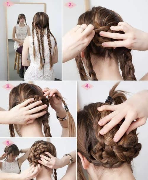 Косы на каждый день своими руками на средние волосы видео